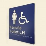 Blue & White Plastic Female Toilet LH