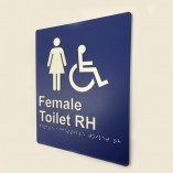 Blue and White Plastic Female Toilet Right Hand Sign