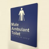 Blue & White Plastic Male Ambulant Toilet Sign