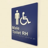Blue and White Plastic Male Toilet Right Hand Sign