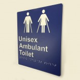 Blue & White Plastic Unisex-Ambulant-Toilet Sign