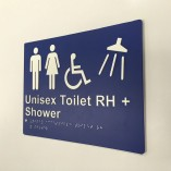 Blue and White Plastic Unisex Toilet RH Shower Sign